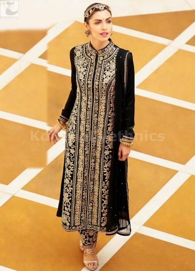 Black colour kurta style Wedding straight cut salwar kameez