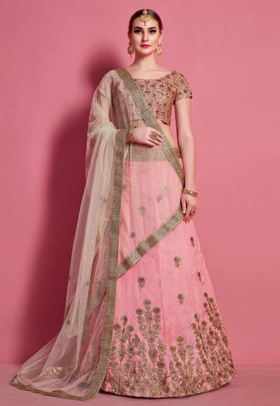 Pink art silk circular lehenga choli 4615