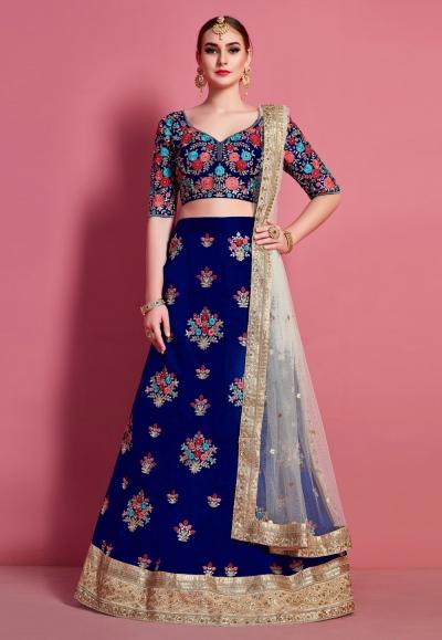 Blue art silk circular lehenga choli 4622