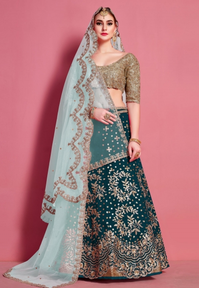 Teal art silk circular lehenga choli 4623