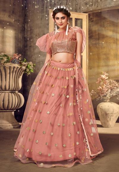 Pink net designer cape lehenga choli 1032
