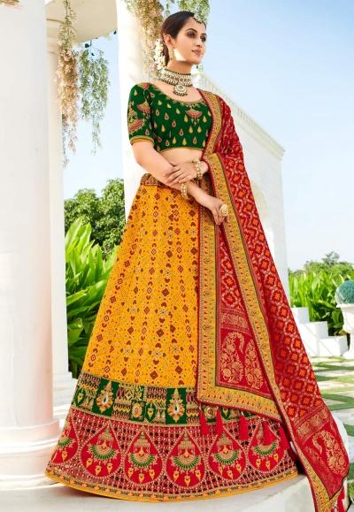 Yellow silk wedding lehenga choli 4211