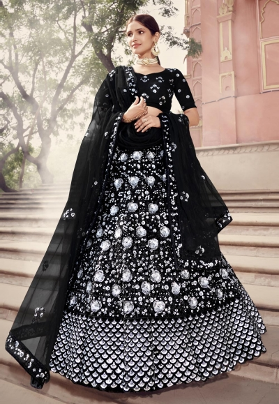 Black net sequins work lehenga choli 5901