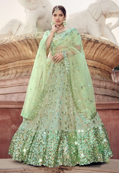 Light green sequins work net lehenga choli 5902