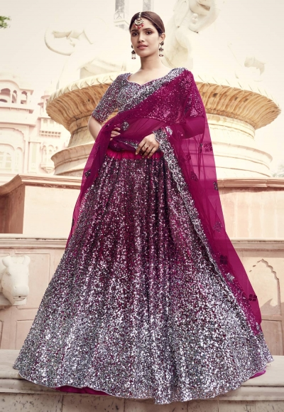 Magenta net sequins work party wear lehenga choli 5904