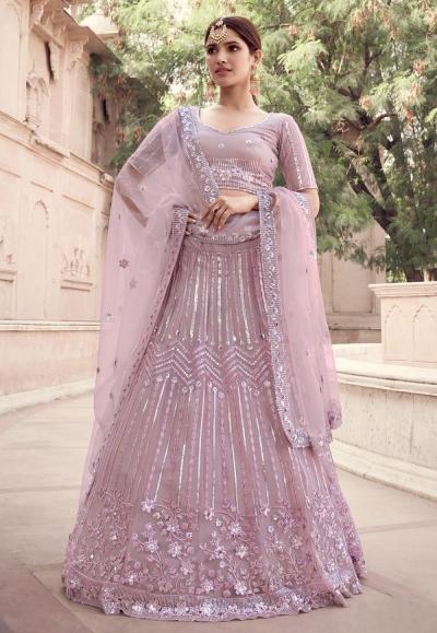 Pink net sequins work reception lehenga choli 5908