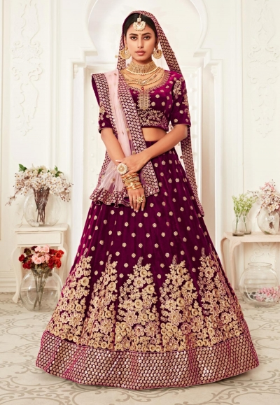 Purple embroidered velvet lehenga choli 16039