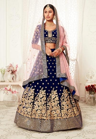 Blue velvet wedding lehenga choli 16041