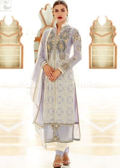 White colour Wedding straight cut salwar kameez