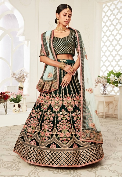 Green velvet sequence work lehenga choli 16045