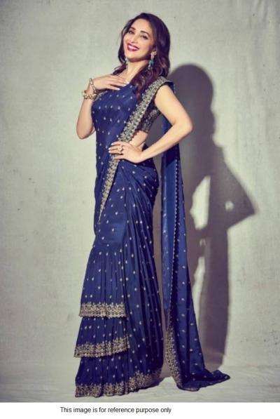 Bollywood Madhuri Dixit inspired georgette ruffle saree