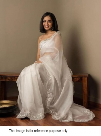 Bollywood Model white organza silk saree