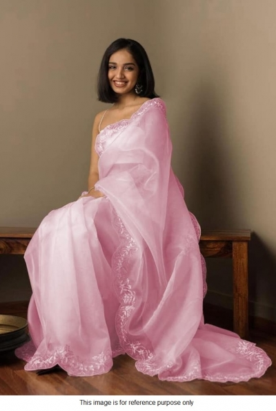 Bollywood Model light pink organza silk saree