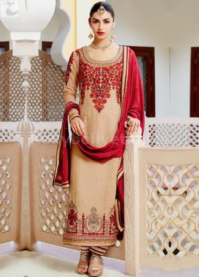 Peach and red colour Wedding straight cut salwar kameez