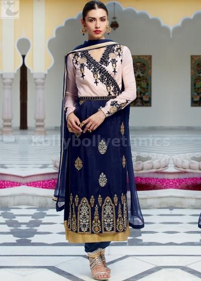 Navy blue and pink Wedding straight cut salwar kameez