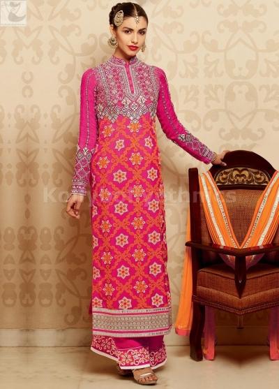 Pink and orange palazzo style Wedding straight cut salwar kameez