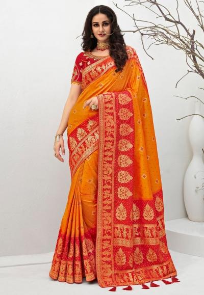 Orange banarasi silk saree with blouse 10102