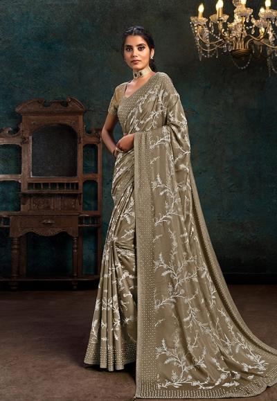 Brown silk saree with blouse 21105