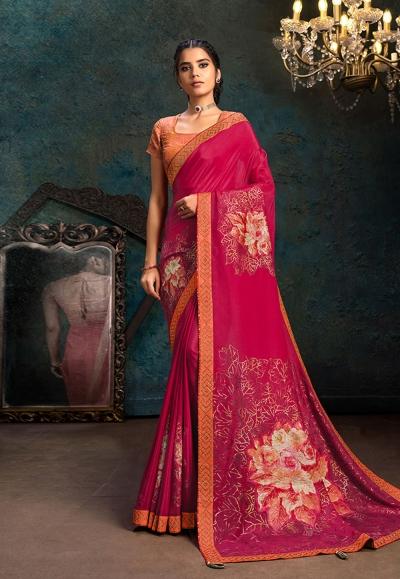 Pink silk saree with blouse 21107