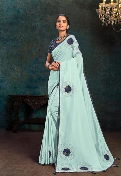 Sky blue silk saree with blouse 21113