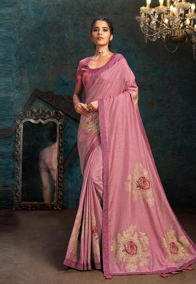 Pink silk stone work saree 21114