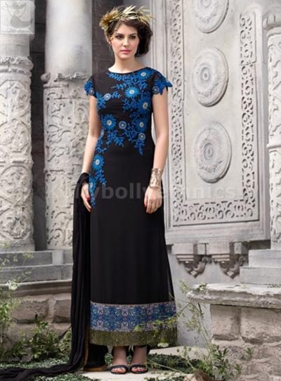 Black georgette Party wear straight cut salwar kameez