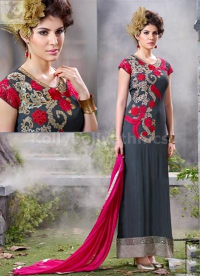 Grey colour georgette Party wear straight cut salwar kameez