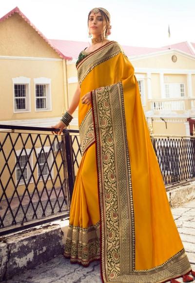 Mustard viscose festival wear saree 6405