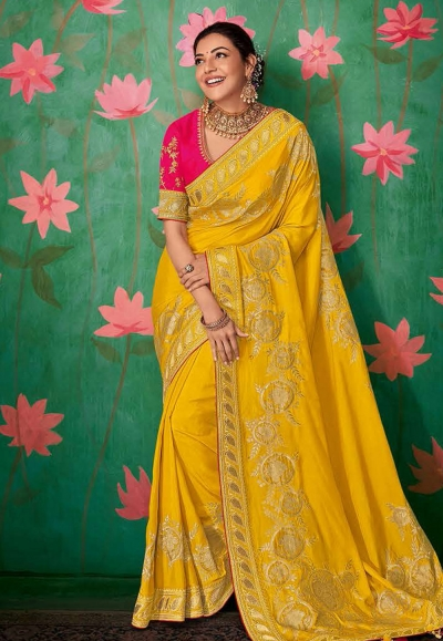 Kajal aggarwal yellow art silk festival wear saree 5152
