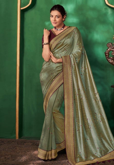 Kajal aggarwal green art silk party wear saree 5155
