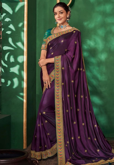 Kajal aggarwal purple art silk party wear saree 5158