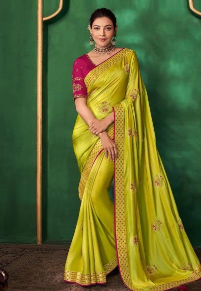 Kajal aggarwal green art silk festival wear saree 5159