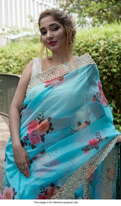 Bollywood model blue organza silk saree