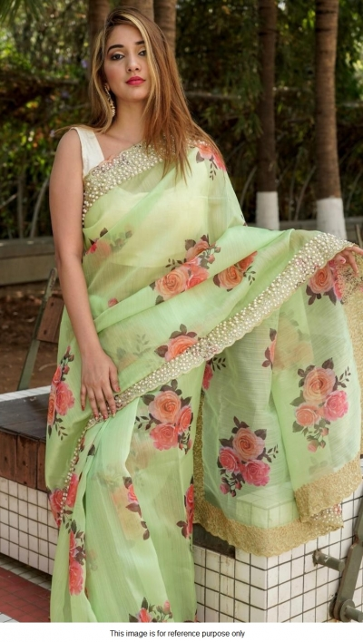 Bollywood model green organza silk saree