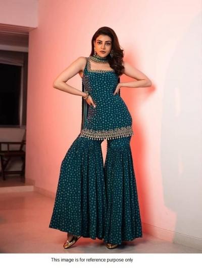 Bollywood Kajal Agrawal inspired teal blue sharara