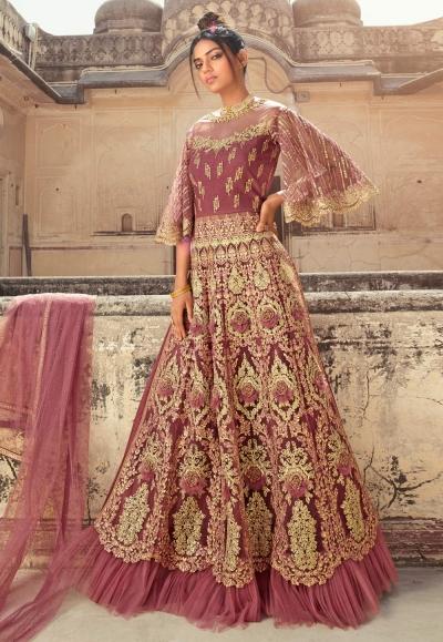 Pink net indo western lehenga choli 5607