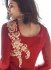 Red palazzo style Party wear straight cut salwar kameez