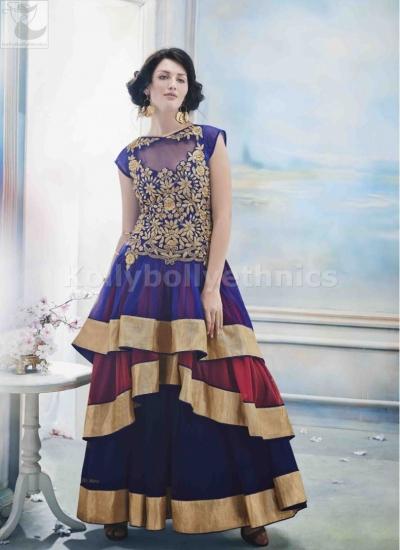 Blue colour gown style Wedding Wear Designer Anarkali salwar kameez