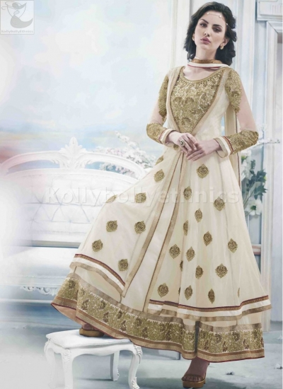 Off White Wedding Wear Designer Anarkali salwar kameez