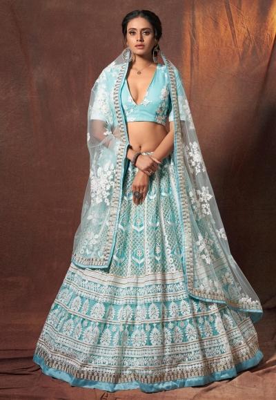 Light blue net lehenga choli 6302
