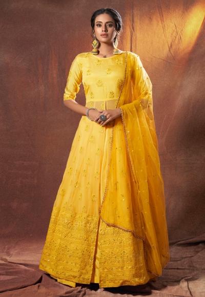 Yellow georgette embroidered lehenga choli 6306