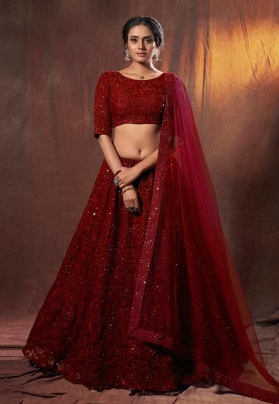 Maroon net sequins work lehenga choli 6307