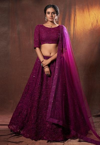 Magenta net sequins work lehenga choli 6308