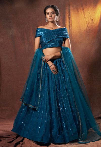 Blue net sequins work designer lehenga choli 6314
