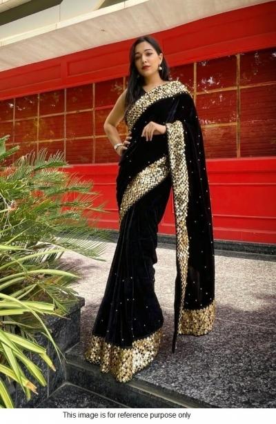 Bollywood model Black velvet sequins saree