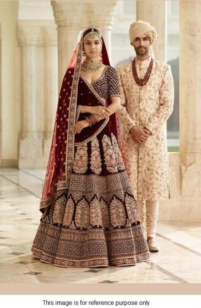 Bollywood Sabyasachi mukherji inspired maroon velvet lehenga
