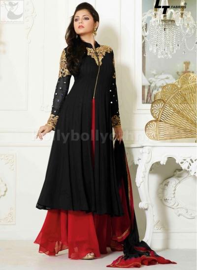 Dharsti Dhami Palazzo style black-red designer salwar kameez