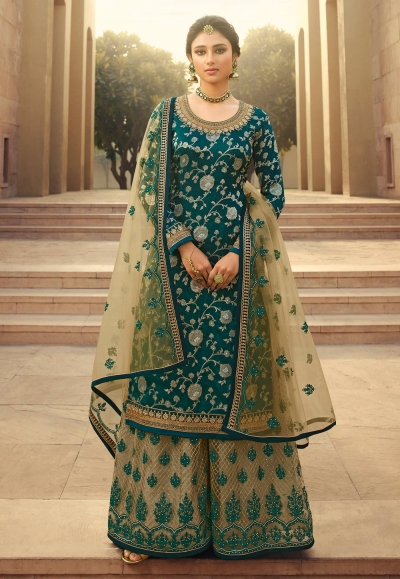Teal jacquard silk embroidered kameez with palazzo 6703