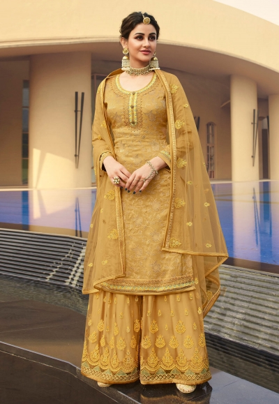 Golden jacquard silk embroidered kameez with palazzo 6707