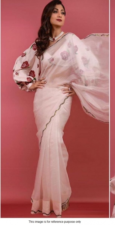 Bollywood Shilpa shetty white organza saree